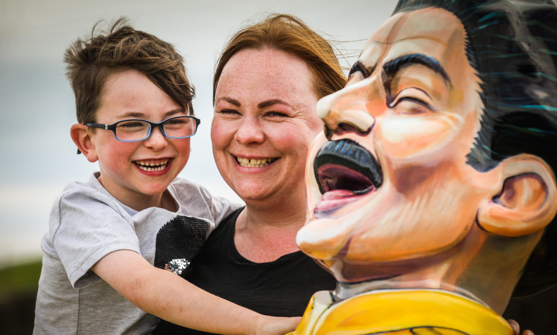 Winner Paula Malham and son Luca, 6, with the Freddy Mercury Oor Wullie.