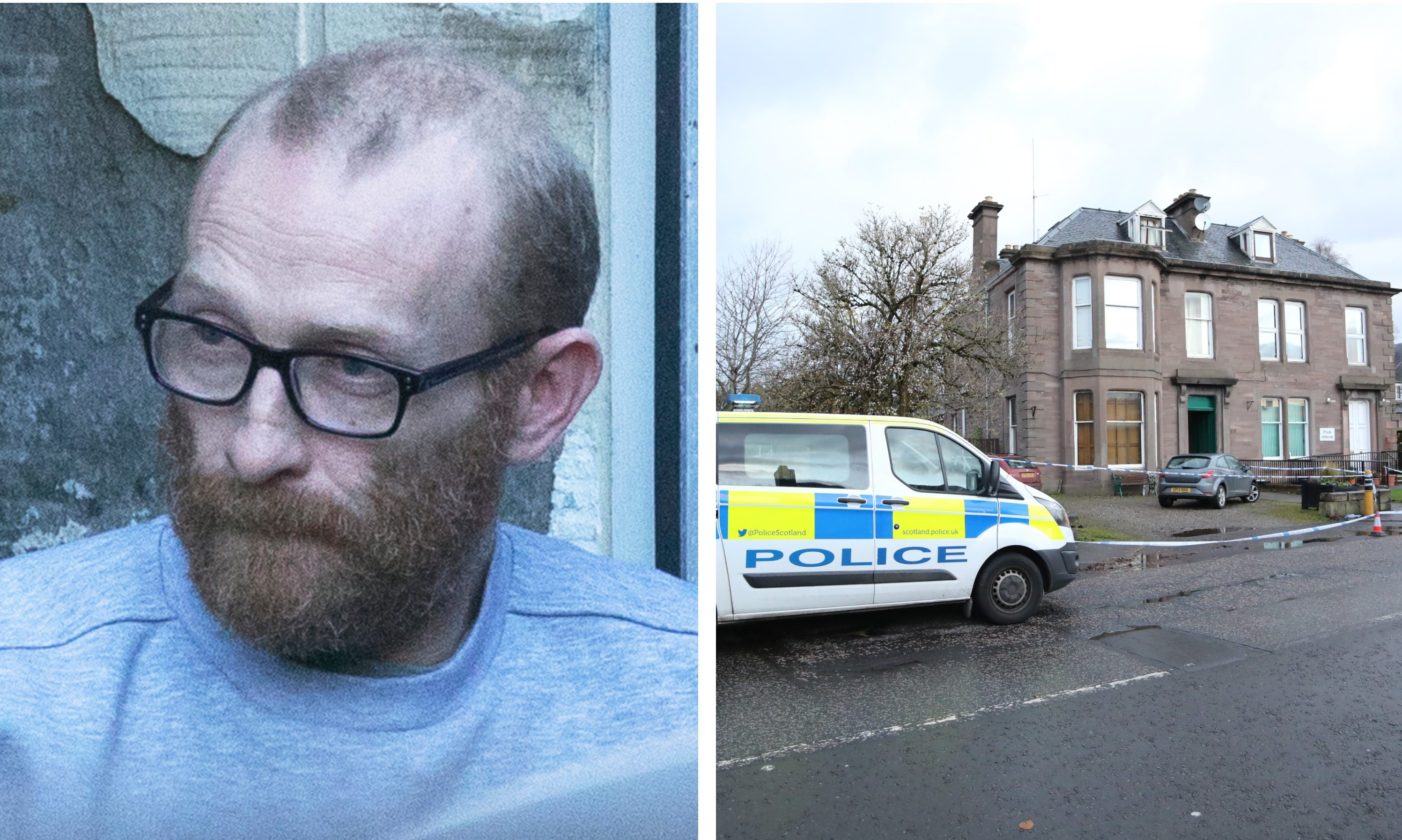 Andrew Morris, left, and the scene of the crime in Coupar Angus, right.