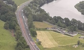 Roadworks caused traffic to queue almost as far as Kinfauns.