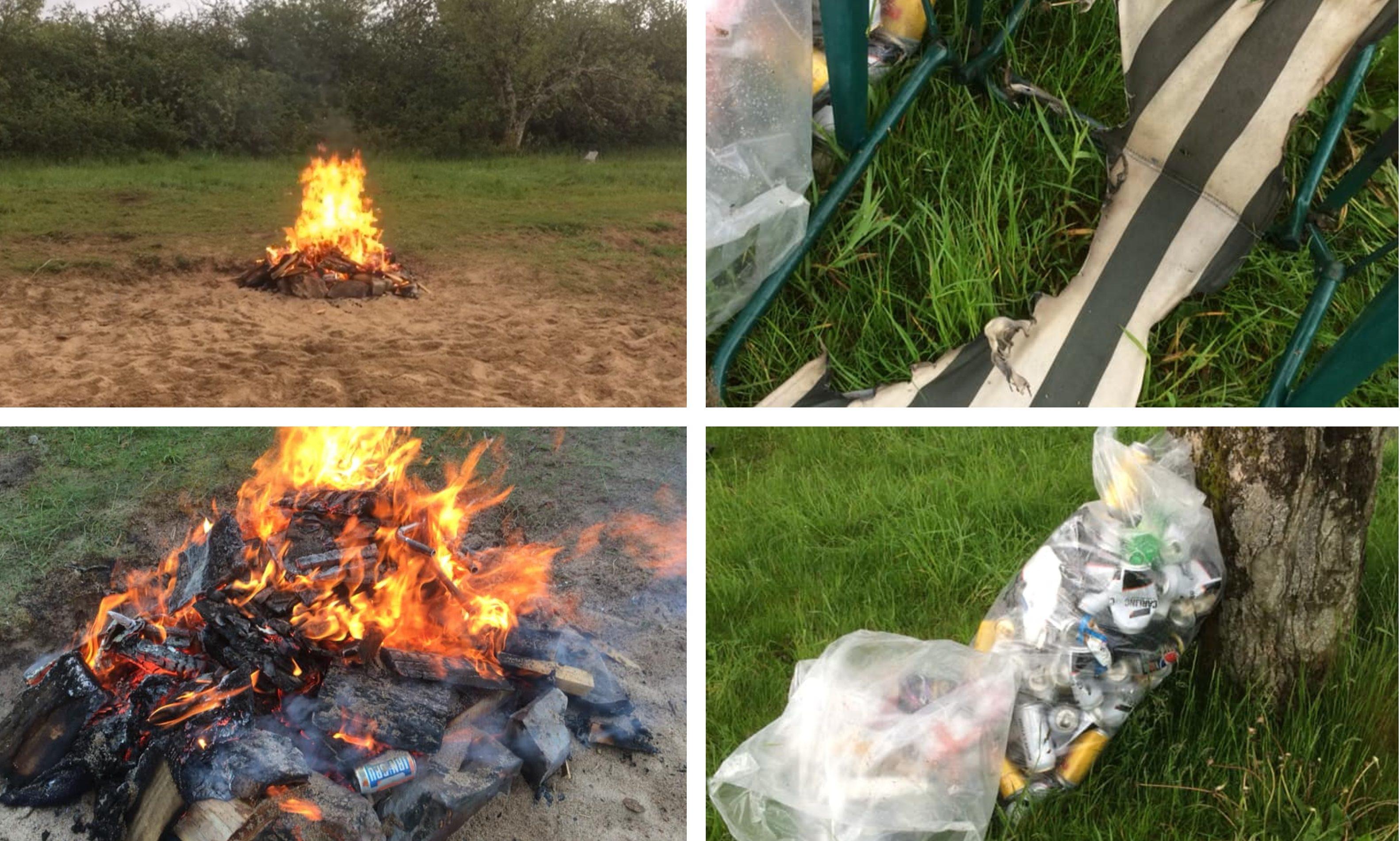 Mess/fire left behind at Loch Rannoch.