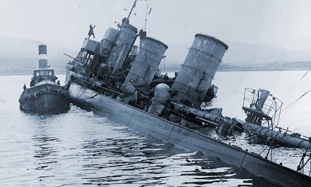 One of the German vessels scuttled at Scapa Flow on June 21, 1919