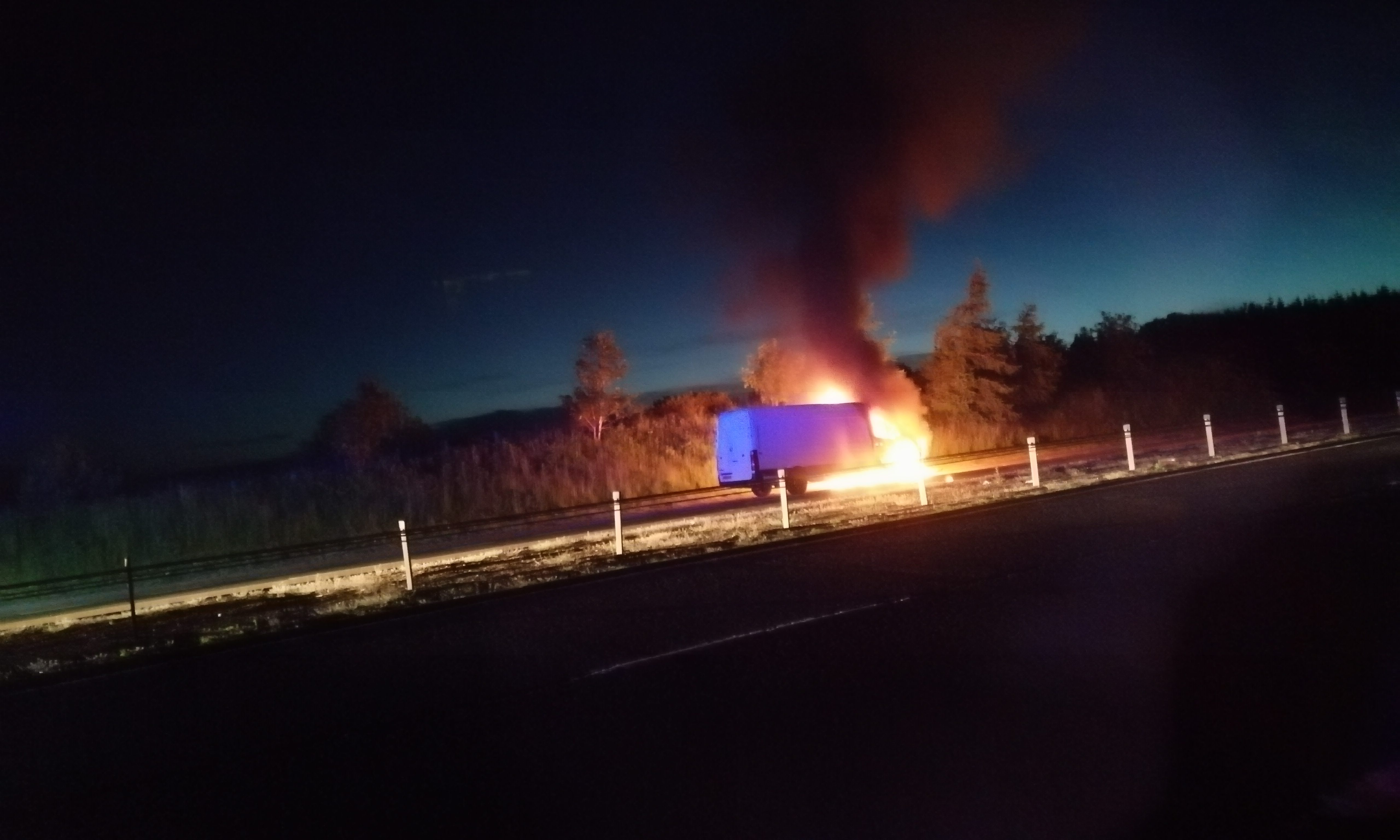 A white van on fire in a layby off the A90 in the early hours of June 22.