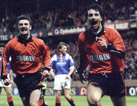 Victor Ferreyra celebrates scoring against Rangers.