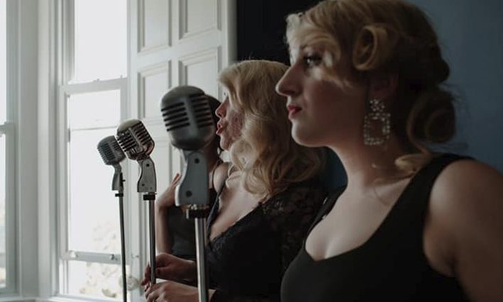 The Vintage Girls. The two microphones in the foreground have been stolen.
