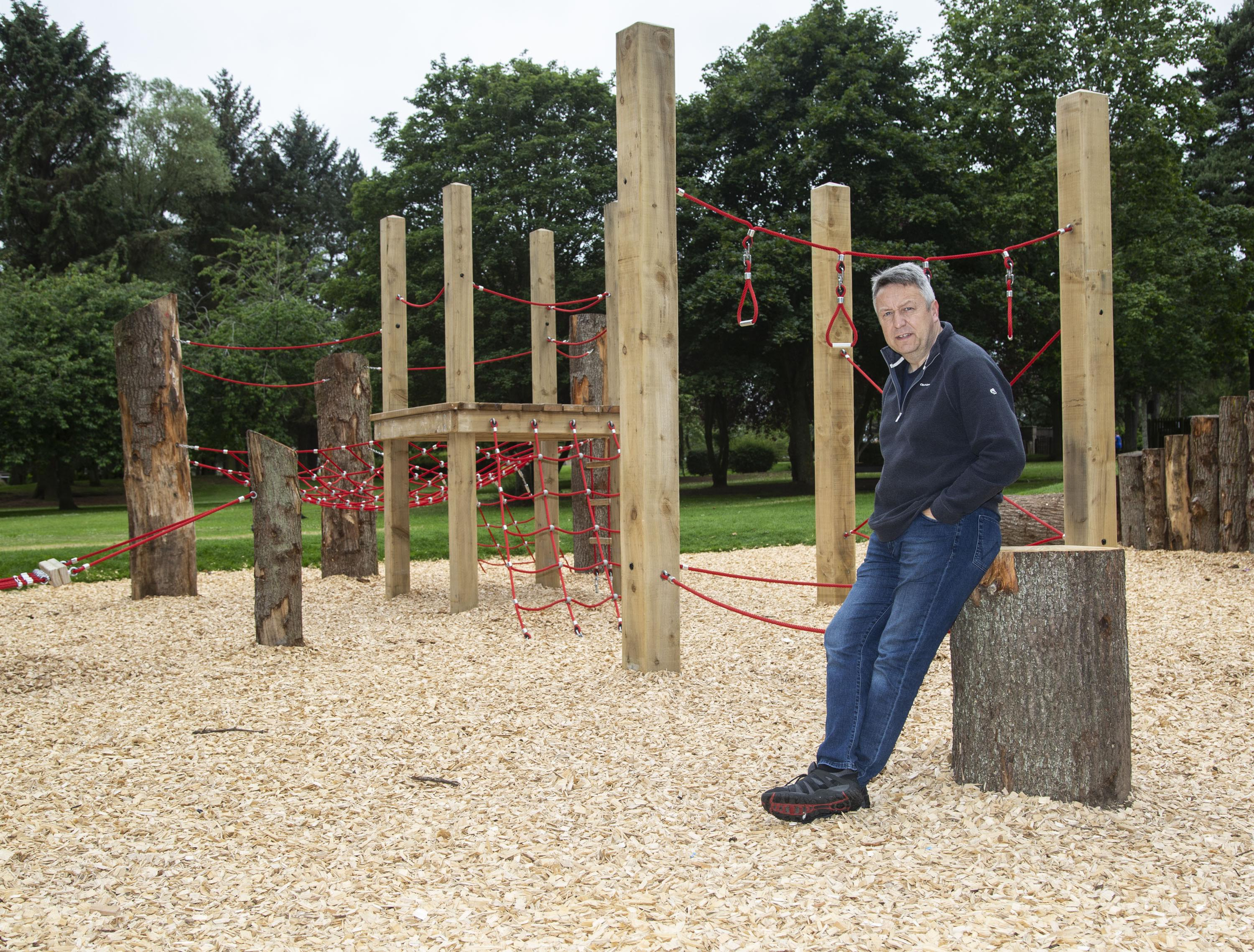 Councillor Angus Forbes at the renovated play area at the Memorial Park, in Invergowrie