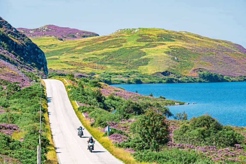 The A894, on part of North Coast 500 tourist route, near Scourie.