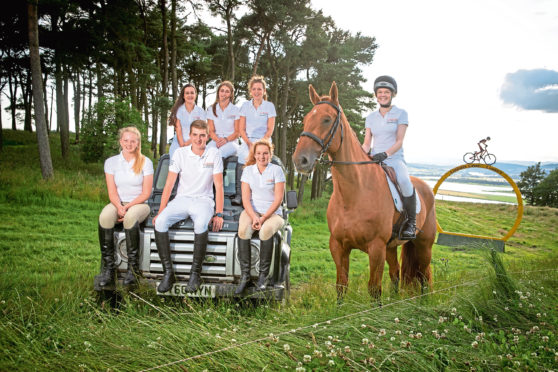 The young riders take a break at Lindores Equestrian Centre.