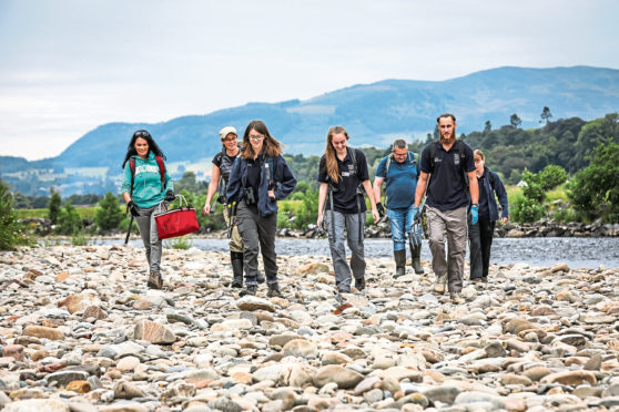 Gayle joins a group of Scottish Wildlife Trust conservation volunteers at Tummel Shingle Island near Pitlochry.