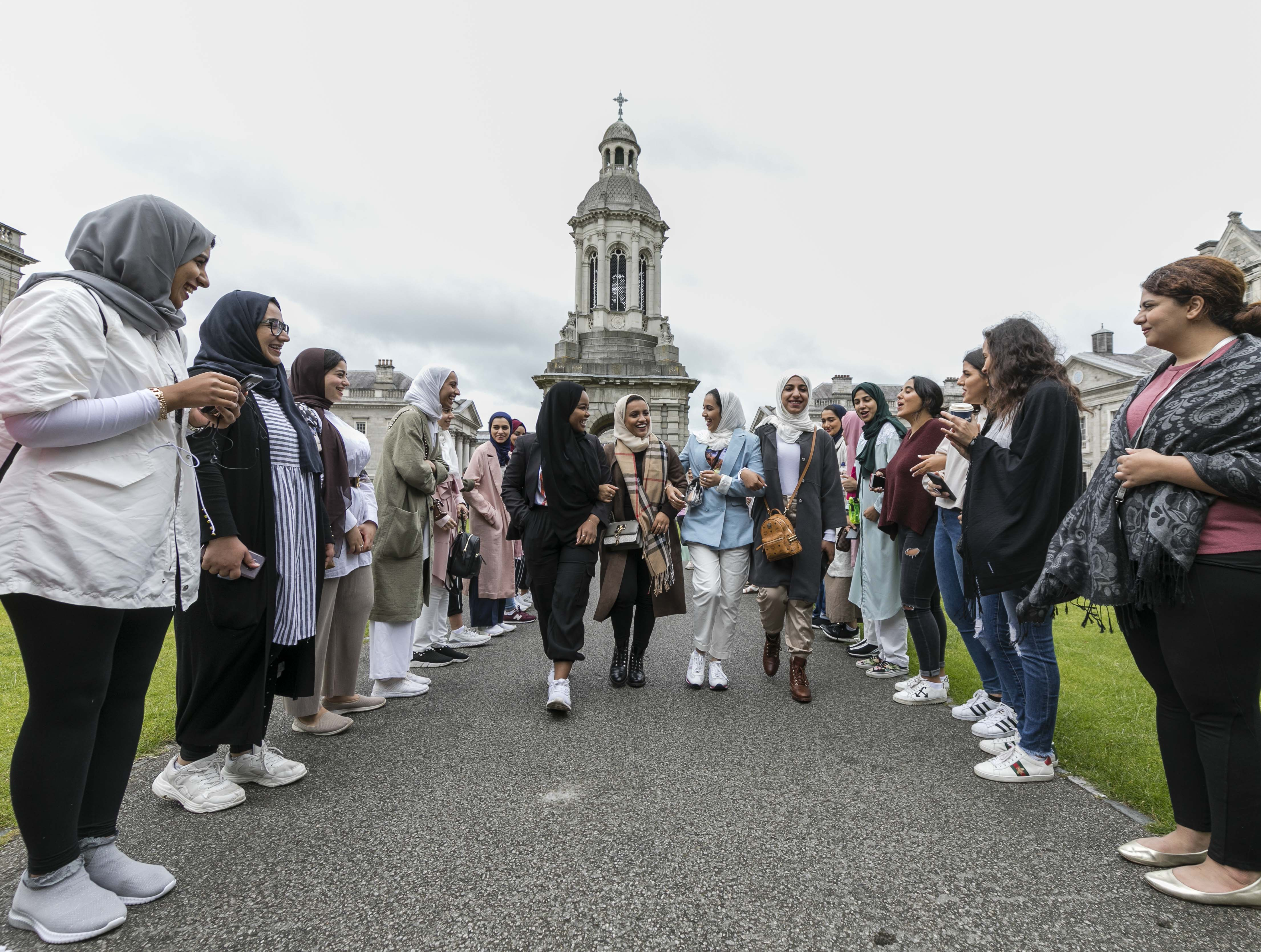 Some of the first students to attend the new Al Maktoum Centre for Middle Eastern Studies in Trinity College Dublin.