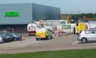 Emergency services at the scene in Peterhead.