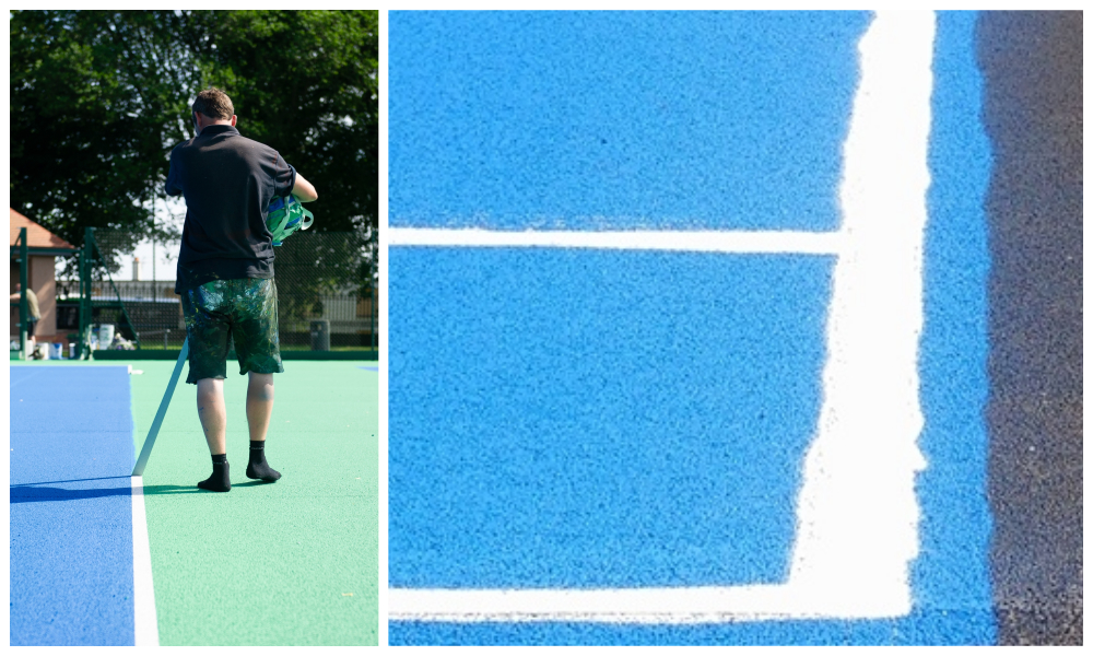 Concern was raised that lines on the tennis courts at Dundee's Baxter Park had been botched