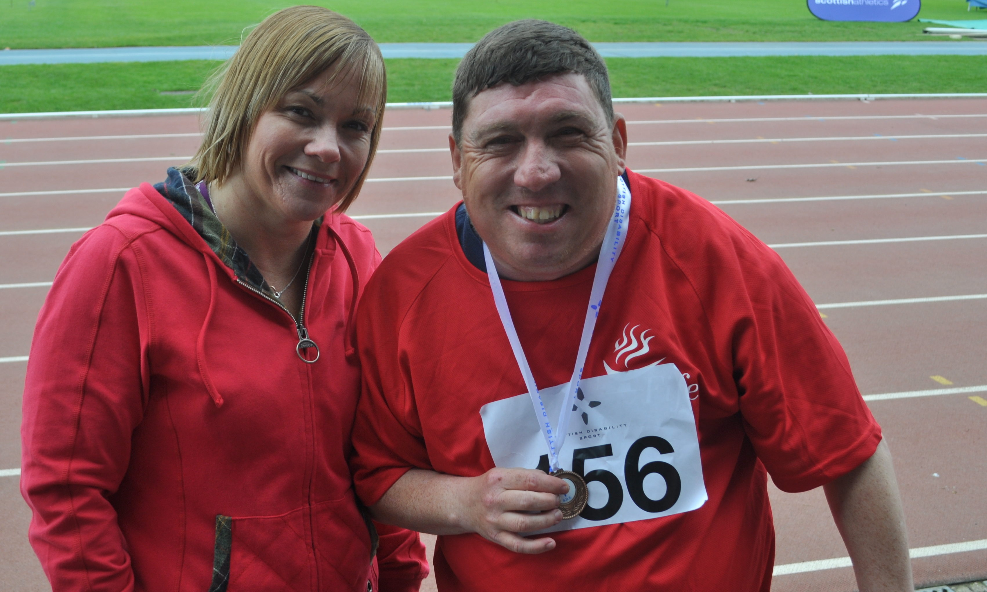Craig Bernard with Carolyn Clunie staff member East Fife Community Support Services