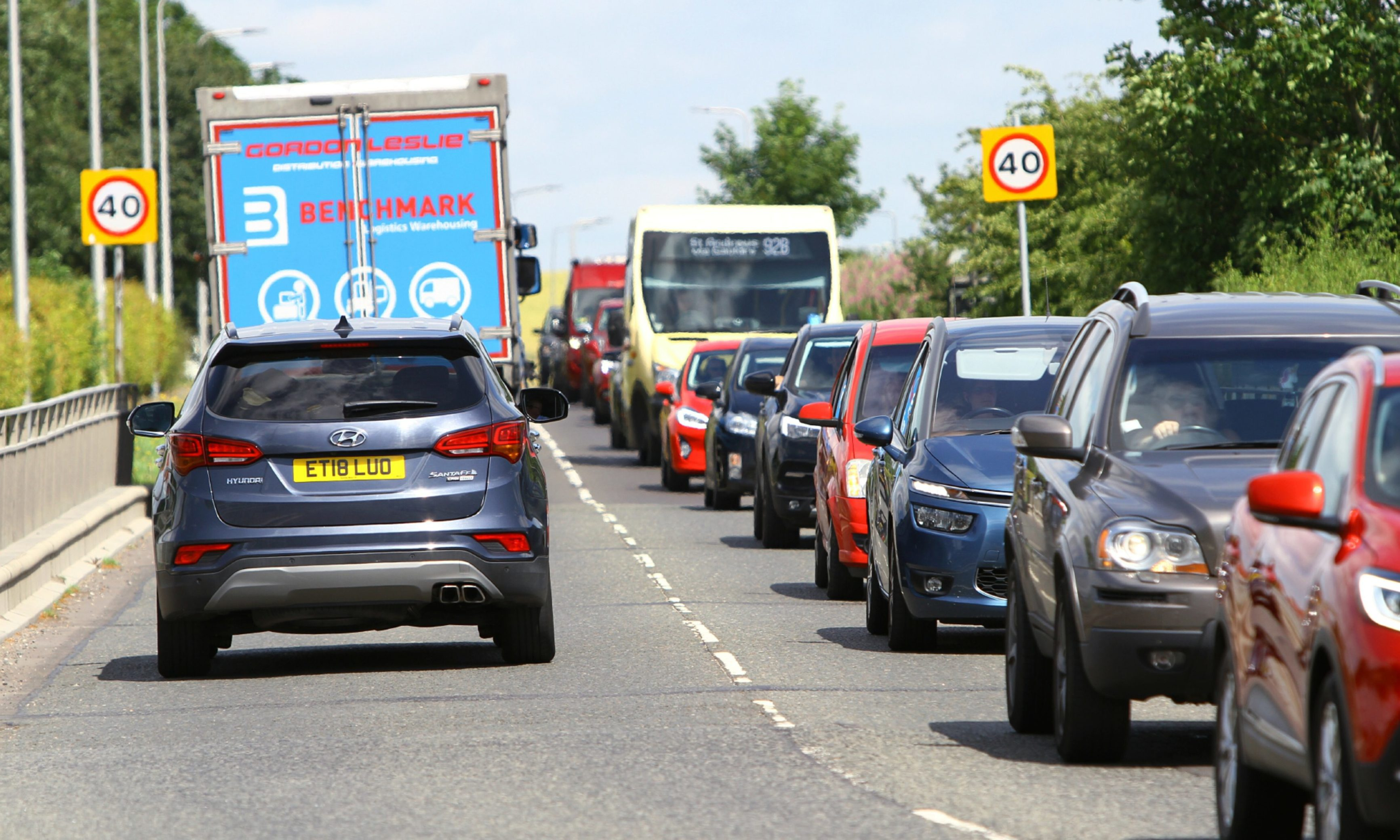 The disruption in Guardbridge today as a result of the roadworks being carried out.