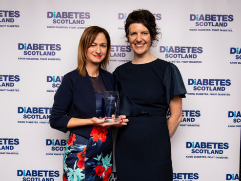 Caroline Held (left) with Angela Mitchell, Diabetes Scotland national director.  Credit: Ian Jacobs