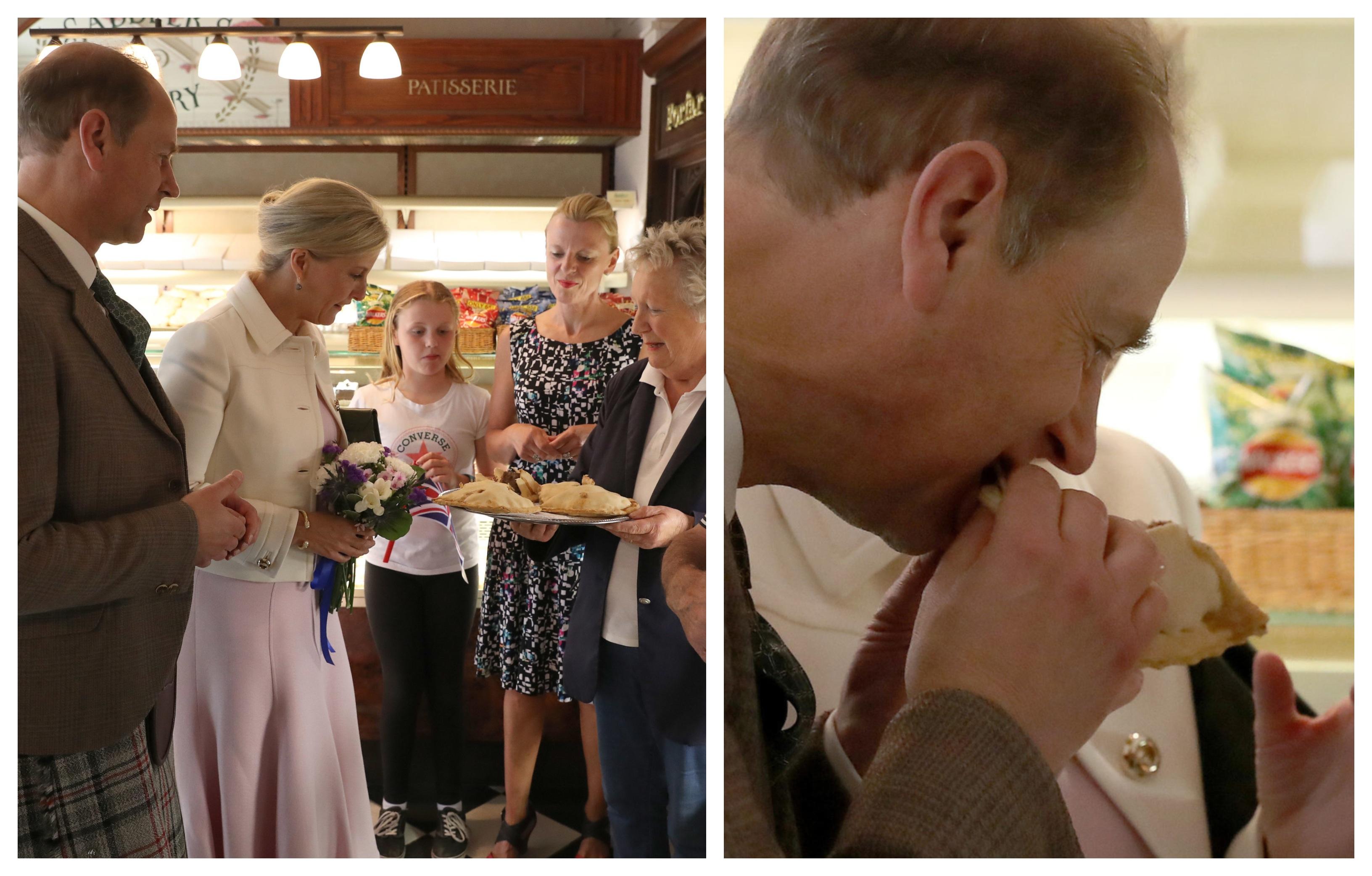 Prince Edward tries a Forfar bridie.