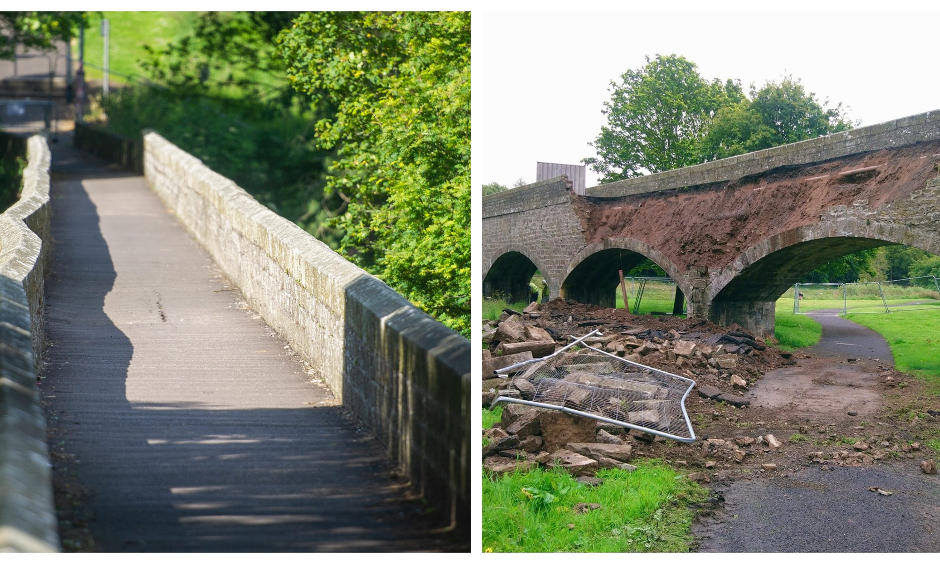 Finlathen Bridge shortly before and after the collapse