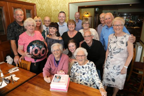 Gauldry woman Ruby Moir (in the pink jumper) celebrated her 100th birthday with a party with family & friends in the St Michaels Inn, Leuchars.