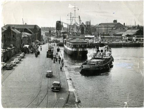 The scene as the unicorn is berthed at Victoria Dock.