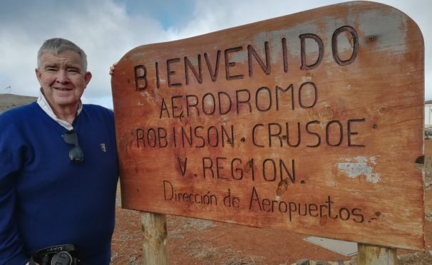 Descendant of Alexander Selkirk, Ian Hendrie, visited the island where his ancestor was marooned.