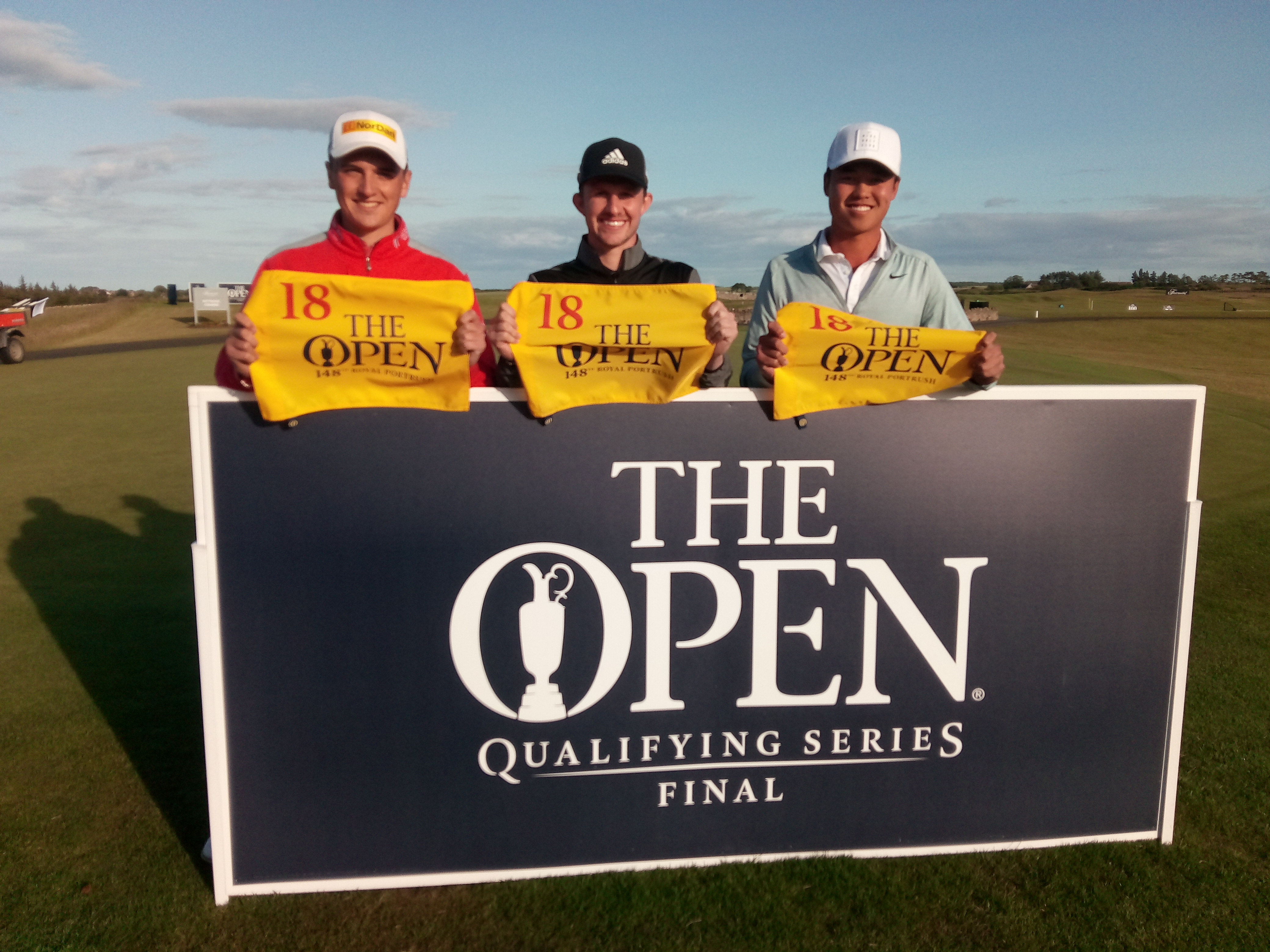 Brandon Wu (right) with fellow qualifiers Sam Locke (right) and Connor Syme (centre).