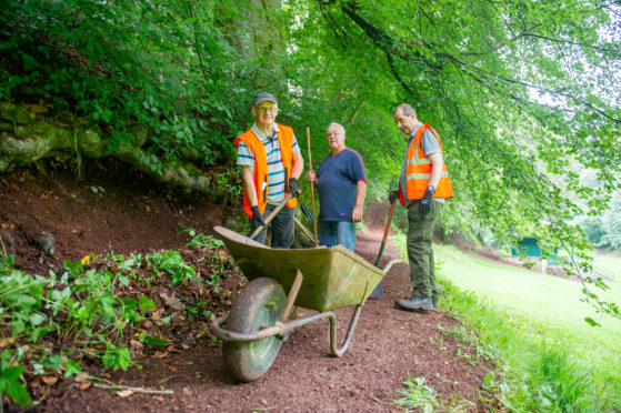 Three of the group members at work - l to r - Ramsay Mudie, David Campbell and  Pete Bowman,