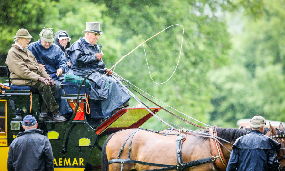 A historic horse-drawn carriage which visited from the Kirrie show.