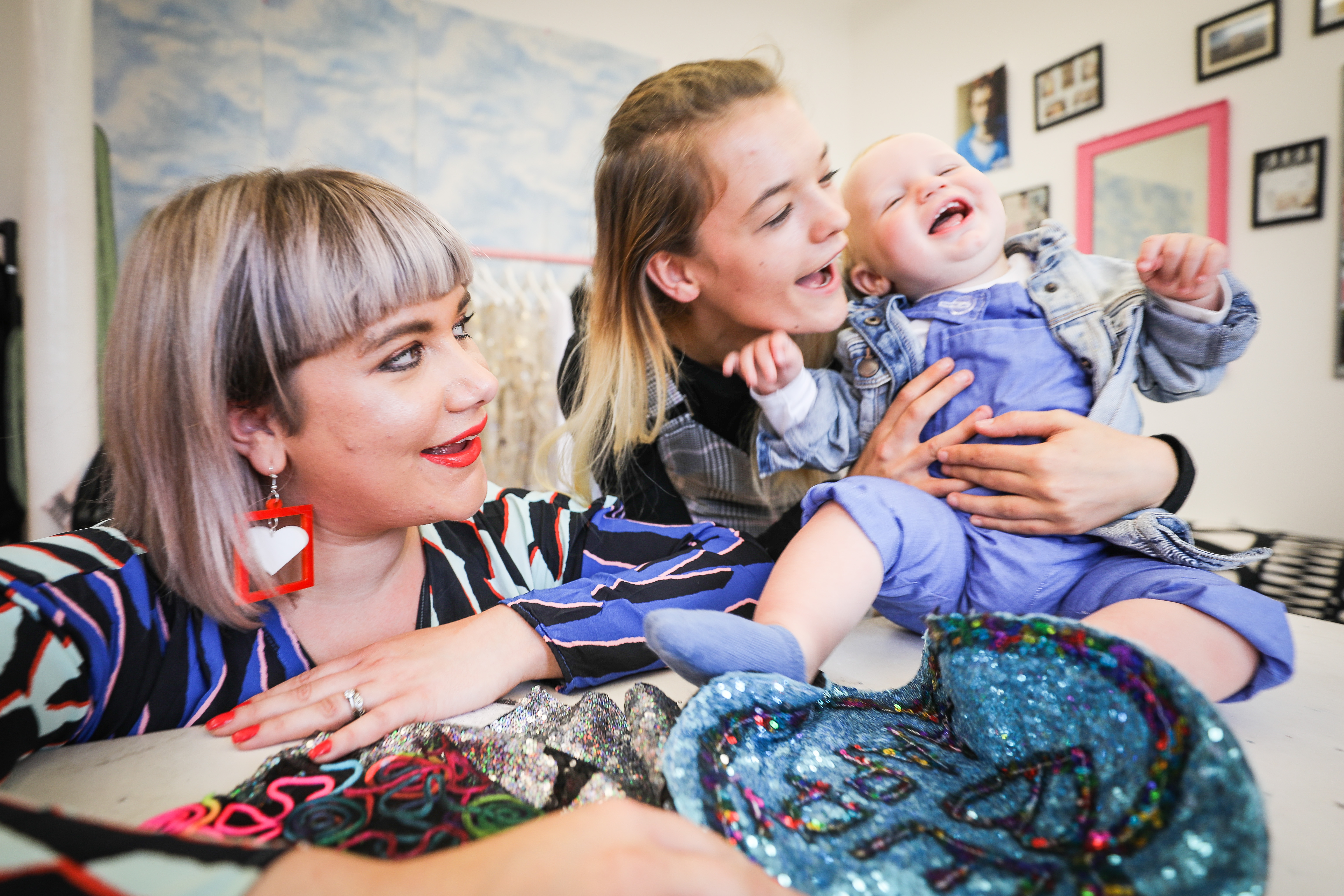 Samantha Paton of Isolated Heroes with Kayleigh Ann Mitchell and Jamie Lafferty. Picture: Kris Miller.