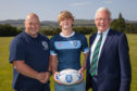 Glenalmond director of sport Graham Smith, first Xv catain Tom Porter and Warden Hugh Ouston.