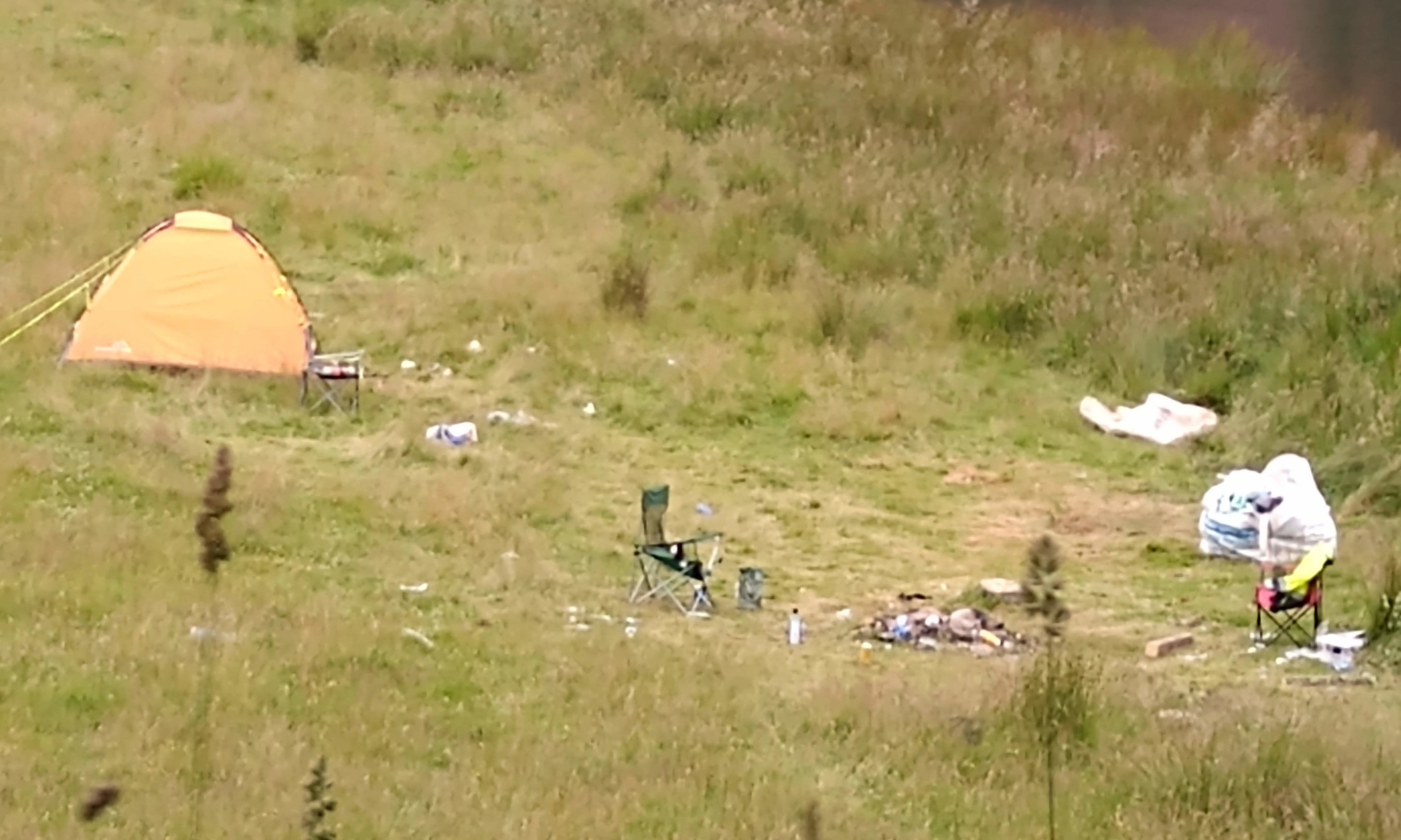 Abandoned campsite at Loch Tummel in Highland Perthshire