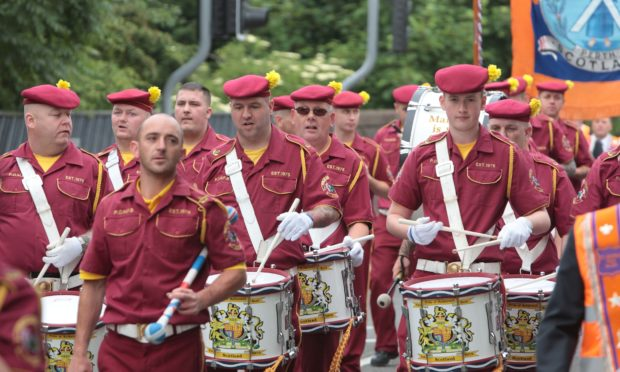 An Orange Order march in Perth city centre