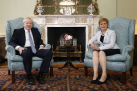Scotland's First Minister Nicola Sturgeon with Prime Minister Boris Johnson in Bute House.