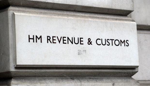 A HM Revenue and Customs (HMRC) sign.