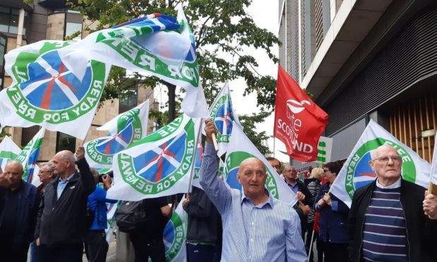 Protesters at EDF offices in Edinburgh