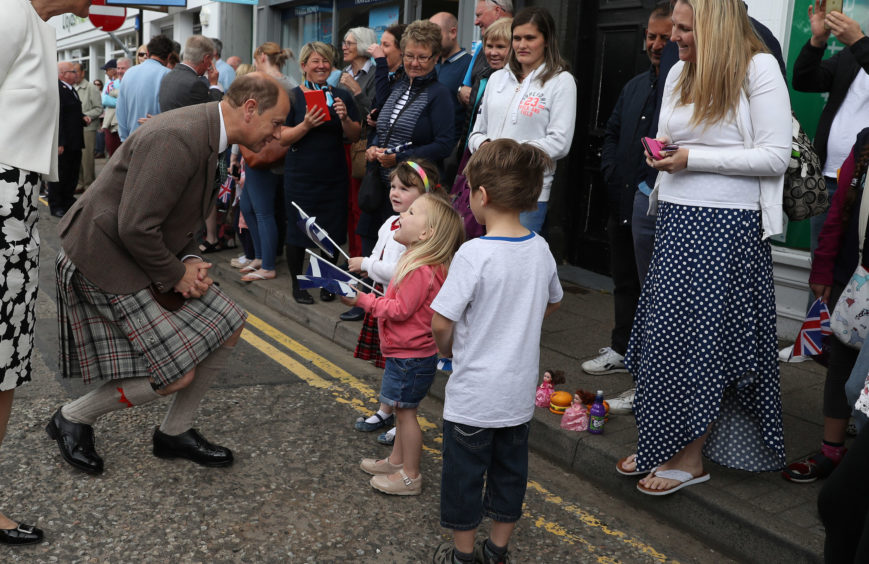The Earl of Forfar chats with locals in Castle Street.