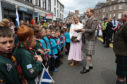 The Earl and Countess of Forfar chat with locals in Castle Street in Forfar. PRESS ASSOCIATION Photo. Picture date: Monday July 1, 2019. Prince Edward and his wife, Sophie, received the title on his 55th birthday earlier this year. See PA story ROYAL Wessex. Photo credit should read: Andrew Milligan/PA Wire