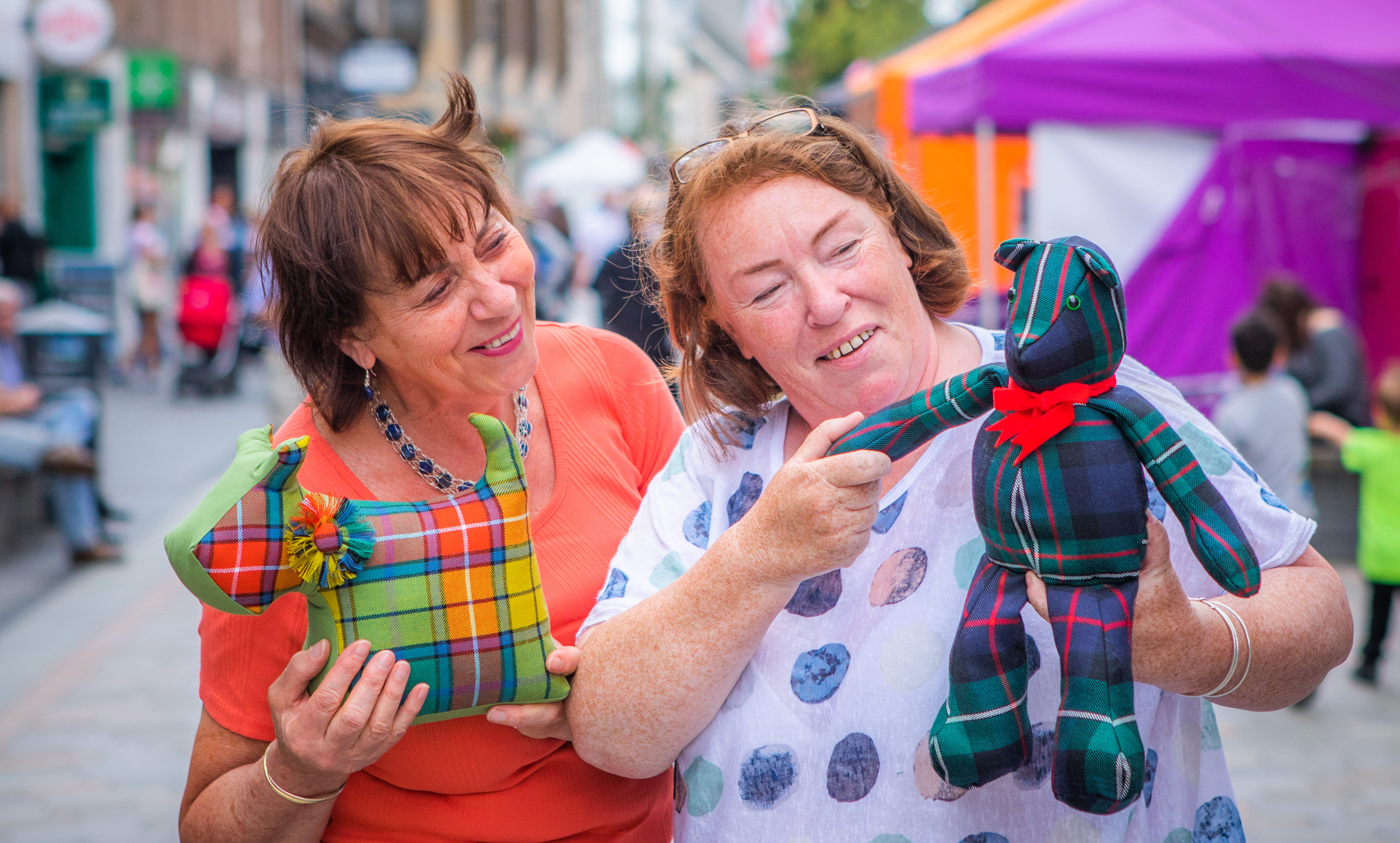 Erica Ritch (right from Broughty Ferry) alongside friend Maggie Nicol (left, from Brechin); Erica runs 'Ritch Pickings' and makes gifts from off cuts of tartan that she then sells, with the proceeds going to Great Ormond Street.