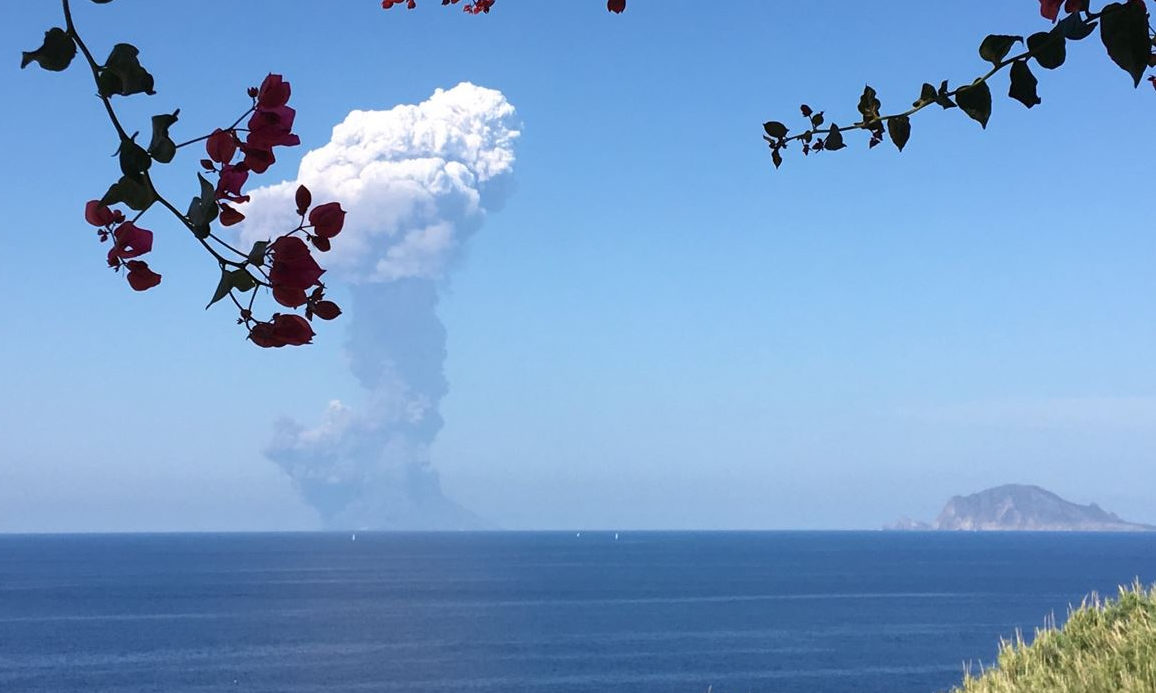 The eruption of the Stromboli volcano in on the island of the same name.