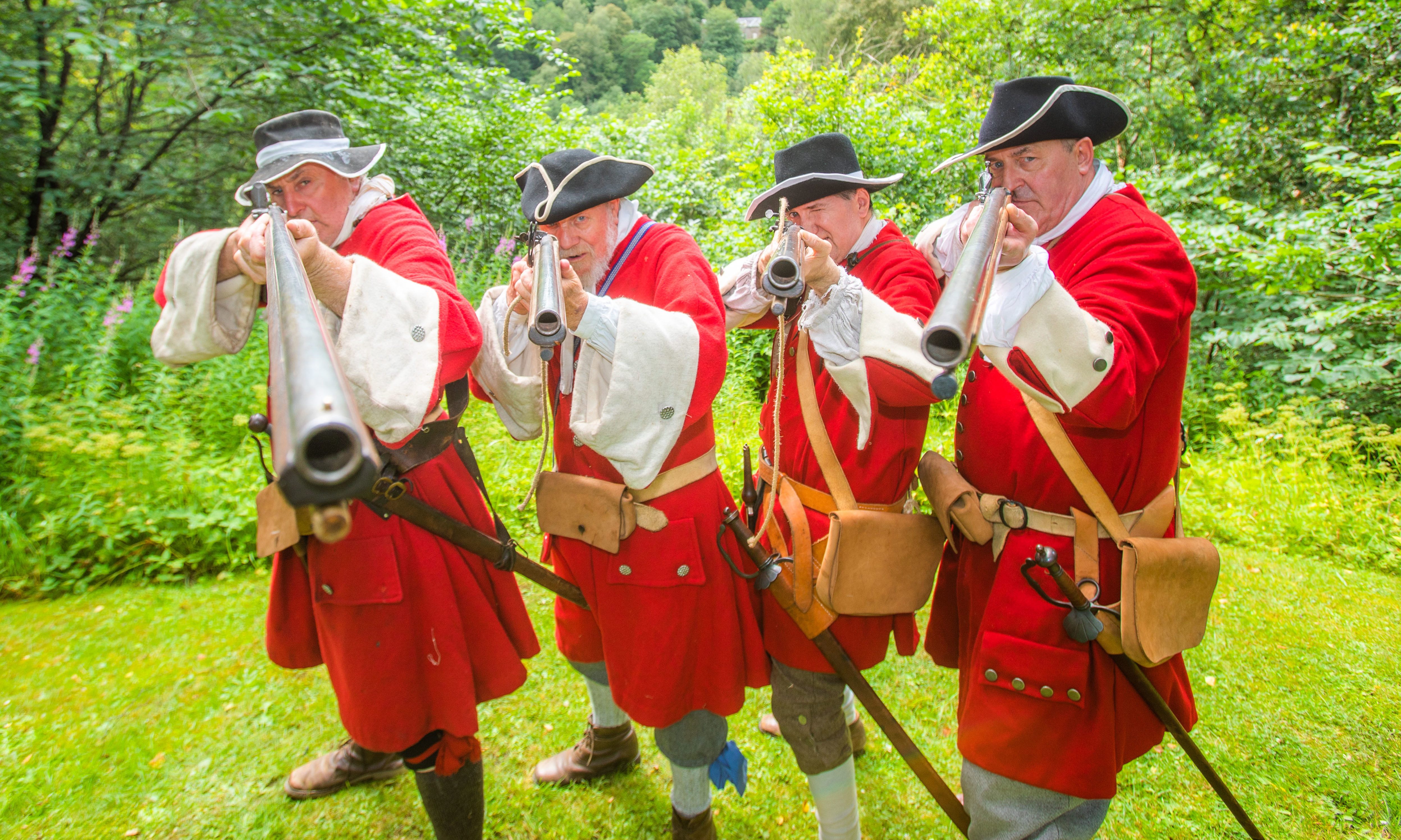 The First Captain's Company Erskine's Regiment, left to right, Charlie Taylor, Jim Fettes (from Bankfoot), Ian Shields and Willie Wright.  Killiecrankie Visitor Centre, Killiecrankie.