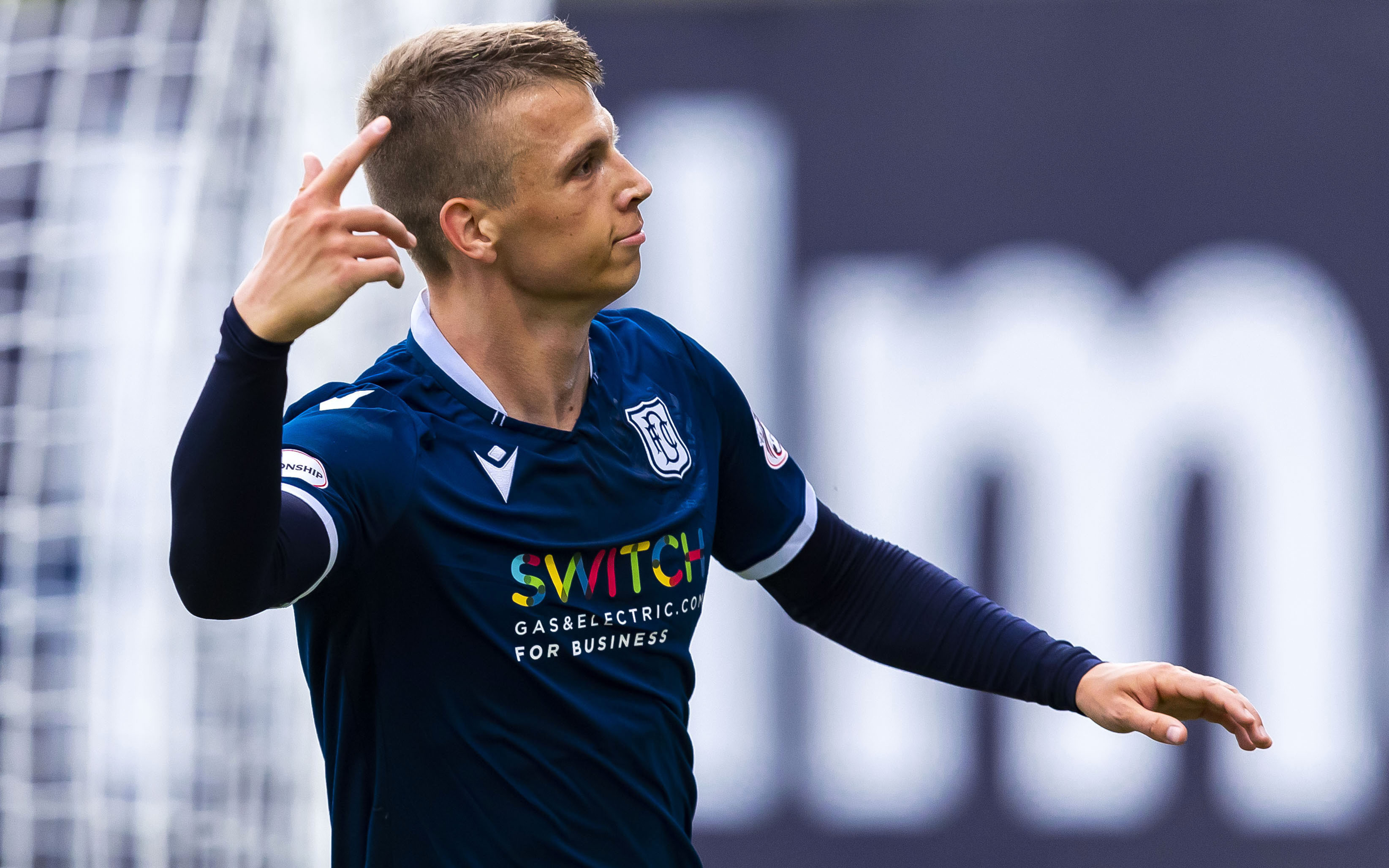 Dundee striker Andrew Nelson after opening the scoring.