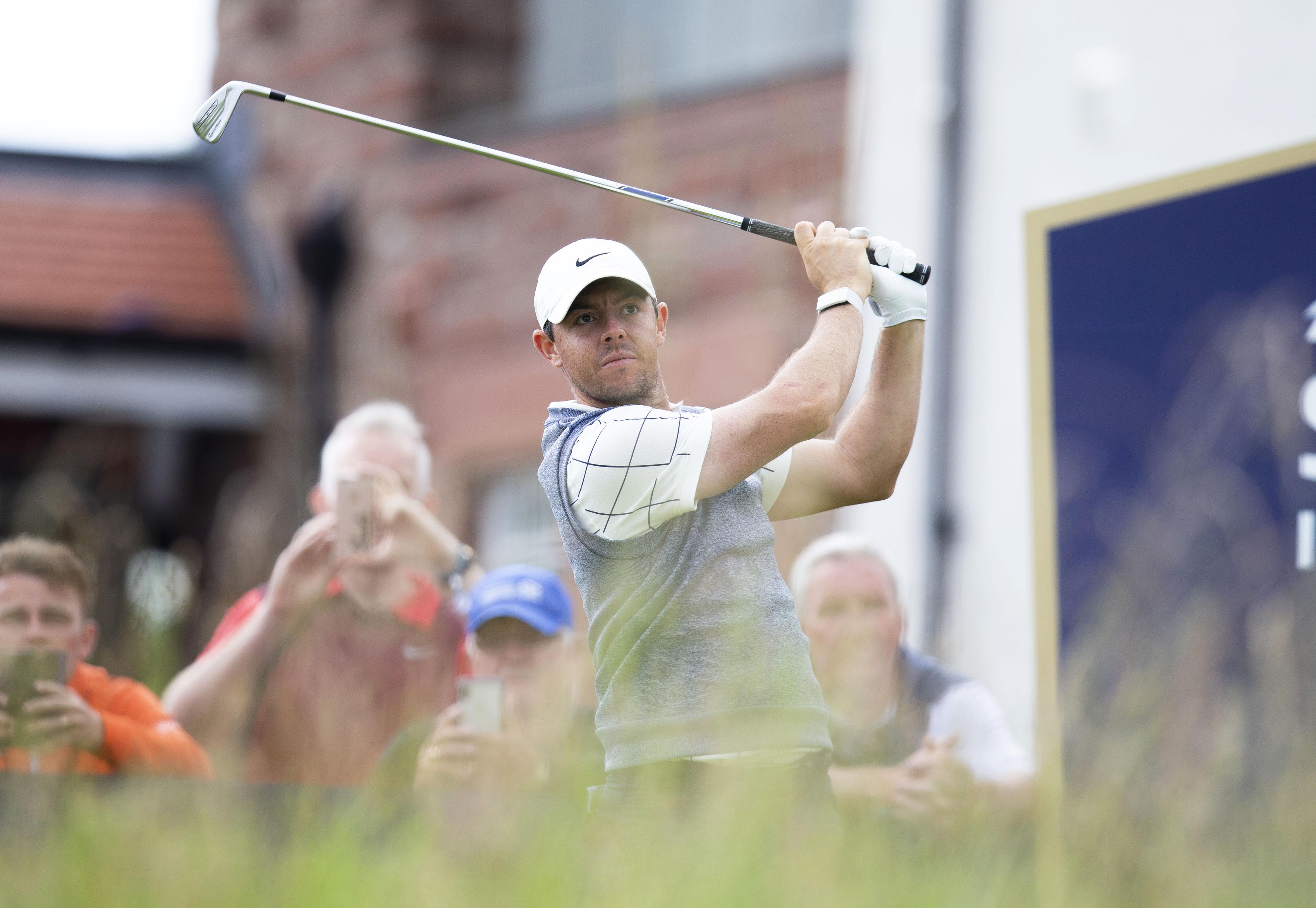 Rory McIlroy in yesterday's pro-am at the Renaissance Club.
