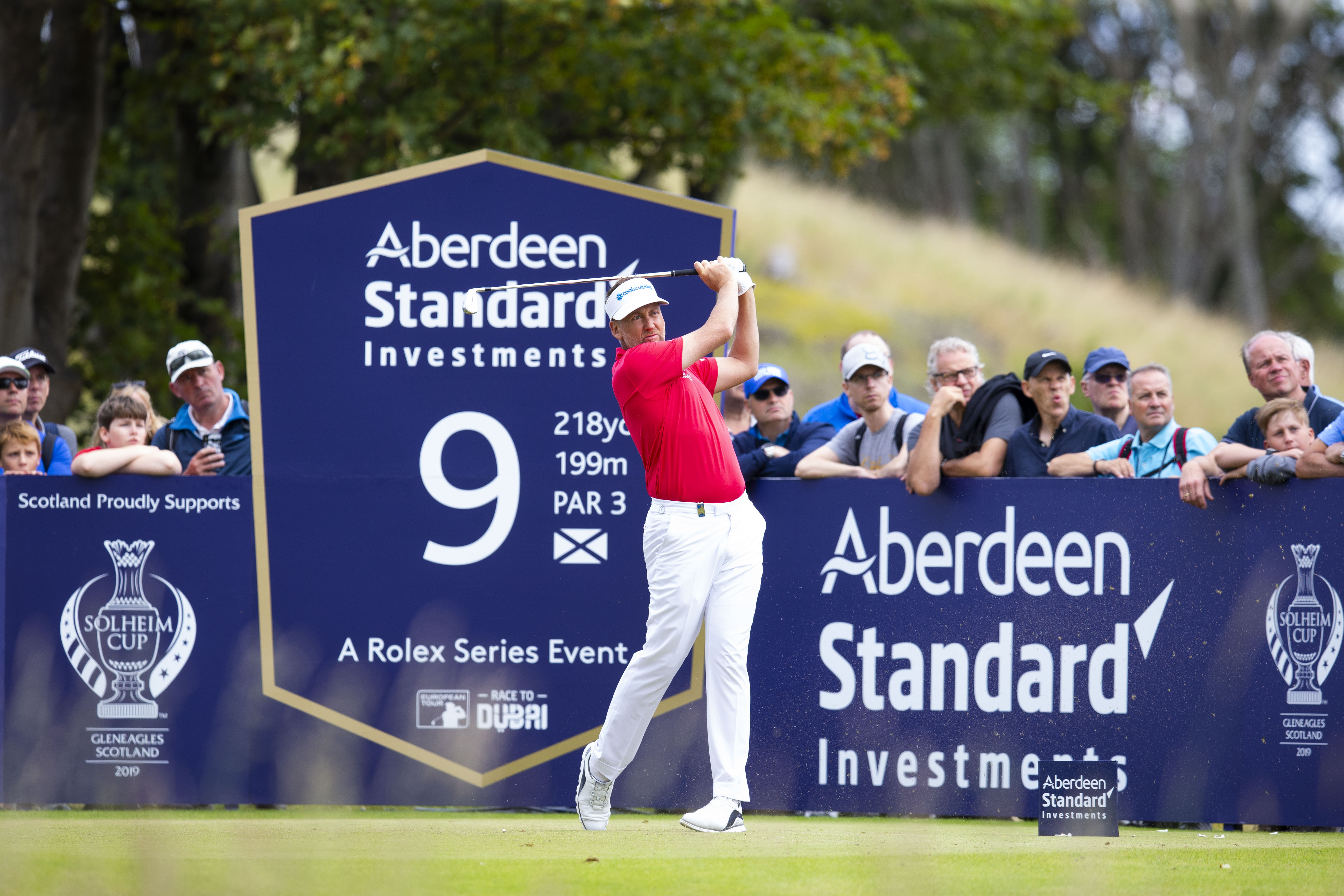 Ian Poulter in action on Day 2 of the Aberdeen Standard Investments Scottish Open.
