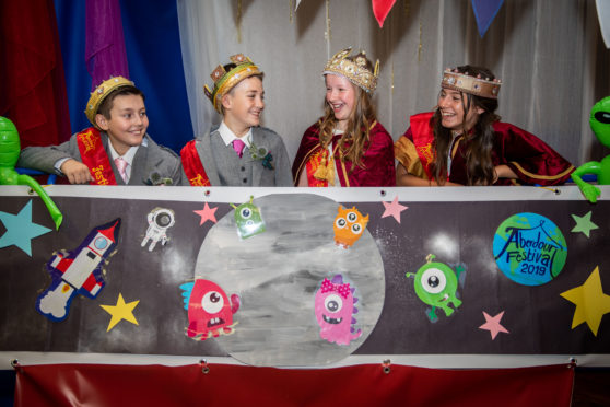 Aberdour Festival's royal party, from left: Jack Ross, 11, Sam Connolly, 11, Natalie Angus, 12, and Olivia Byrne, 12.