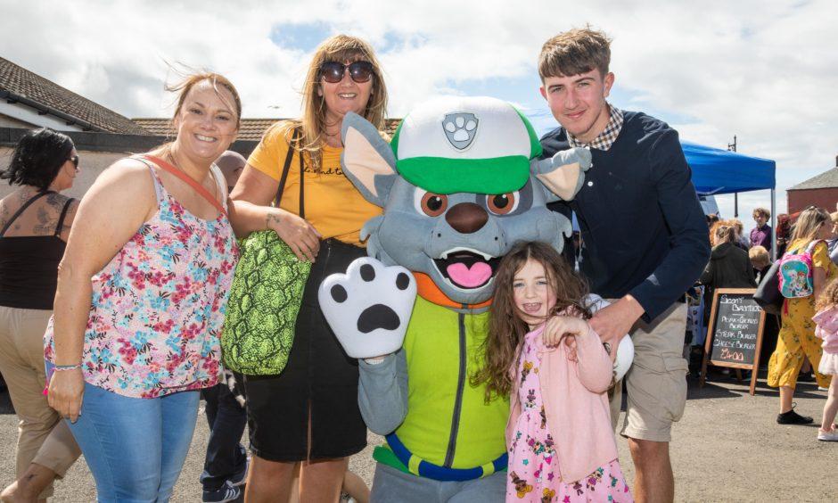 Lesley Simpson, Tammy Ferguson, Paw Patrol, Kieran Ferguson and Birthday Girl Eilidh Ferguson (8) at Broughty Ferry Gala.