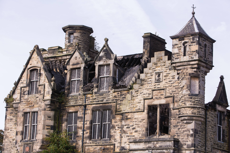 The fire damaged former Viewforth High School, on Loughborough Road.
