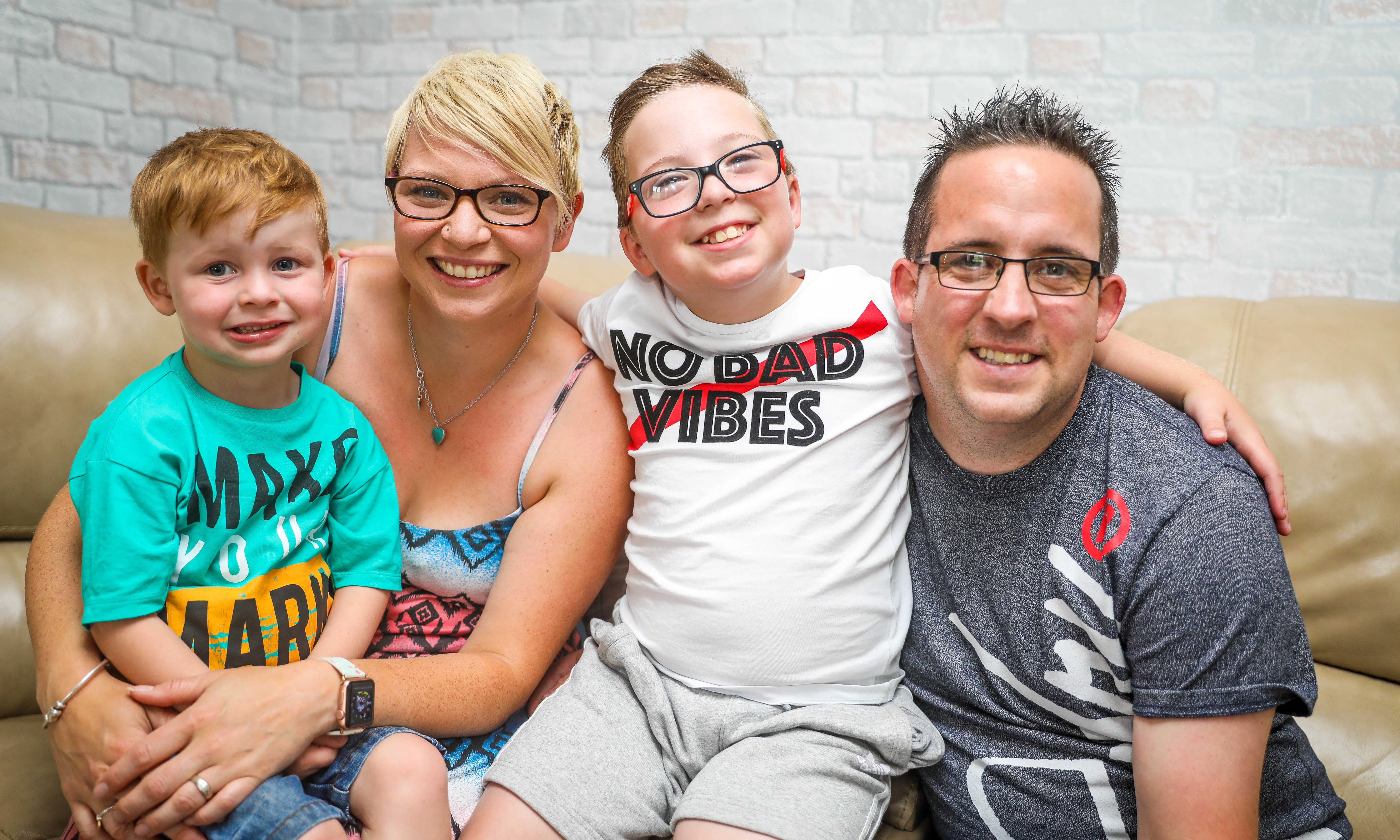 The Fox family (Left) Lee,3, Chantel, 31., Oliver, 9 and Matthew, 32 at home in Dunfermline