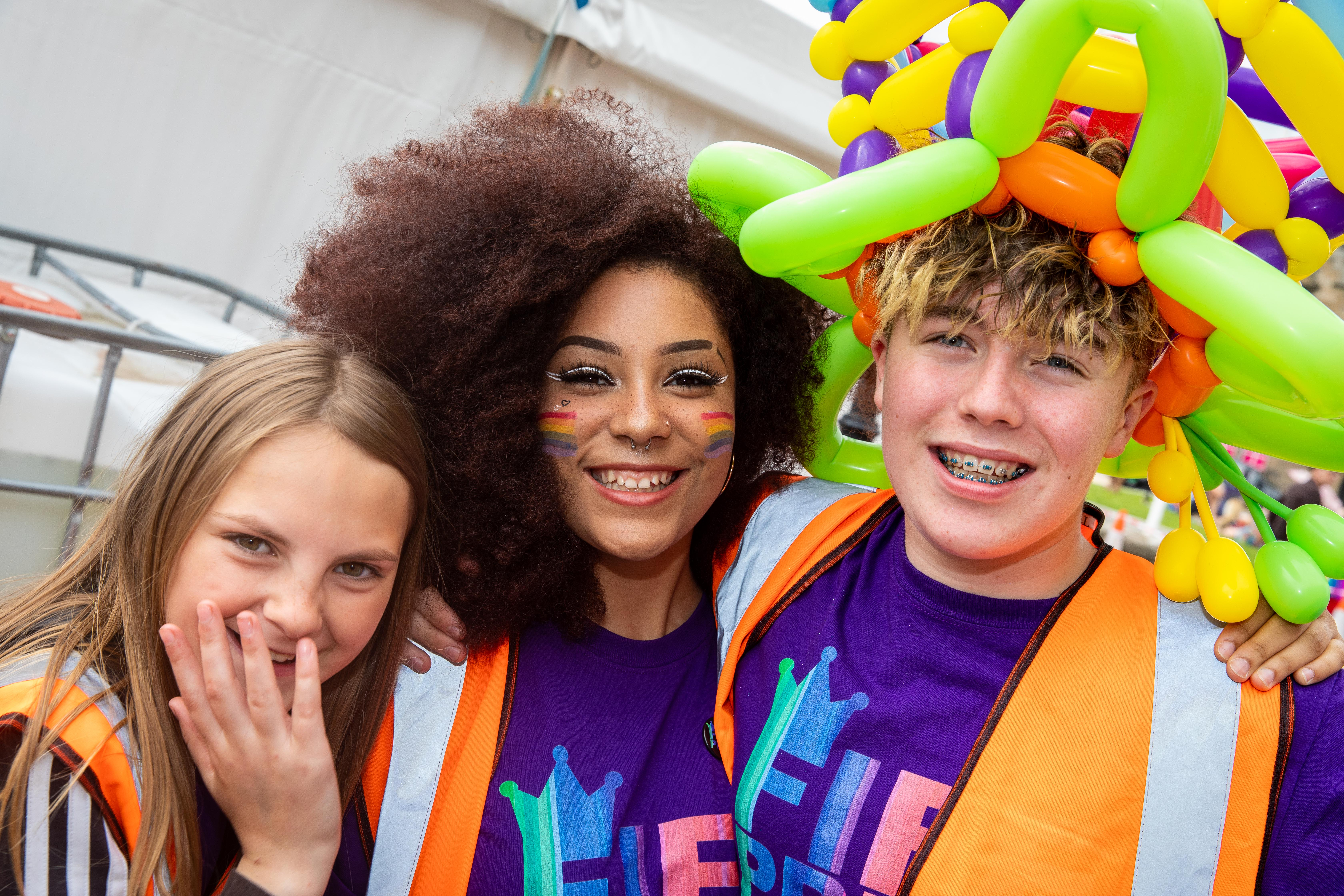 Volunteers Nicole Allan (13), Megan Hall (16) and Arron Kennedy (13) all colourful at Pride in Kirkcaldy.