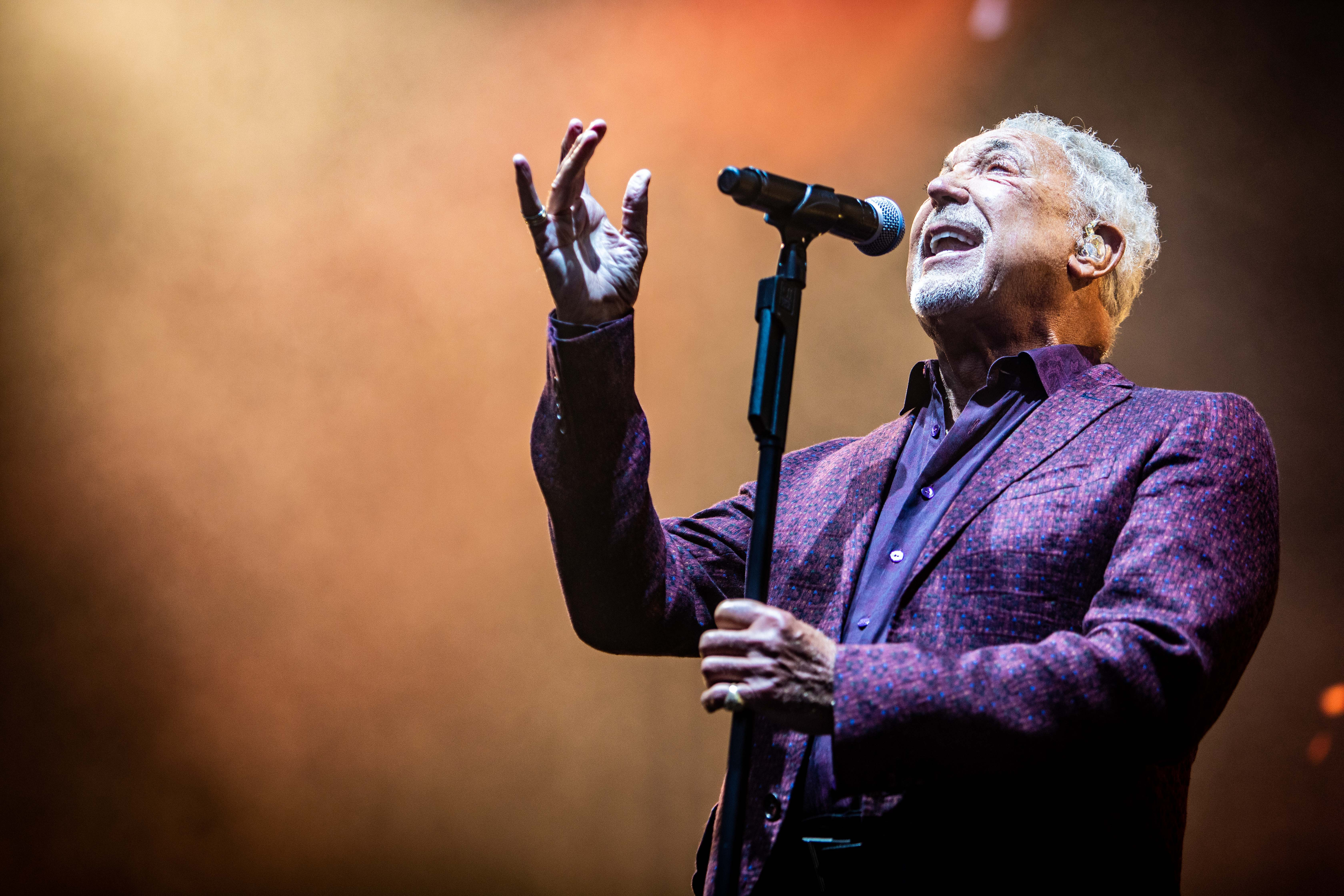 Tom Jones on stage at Slessor Gardens.