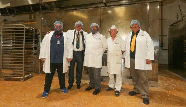 Cllr Ryan Smart, Jim Leishman Lord Provost, Keith Stuart M.D., Jim Wilkie master baker and Cllr Colin Davidson.