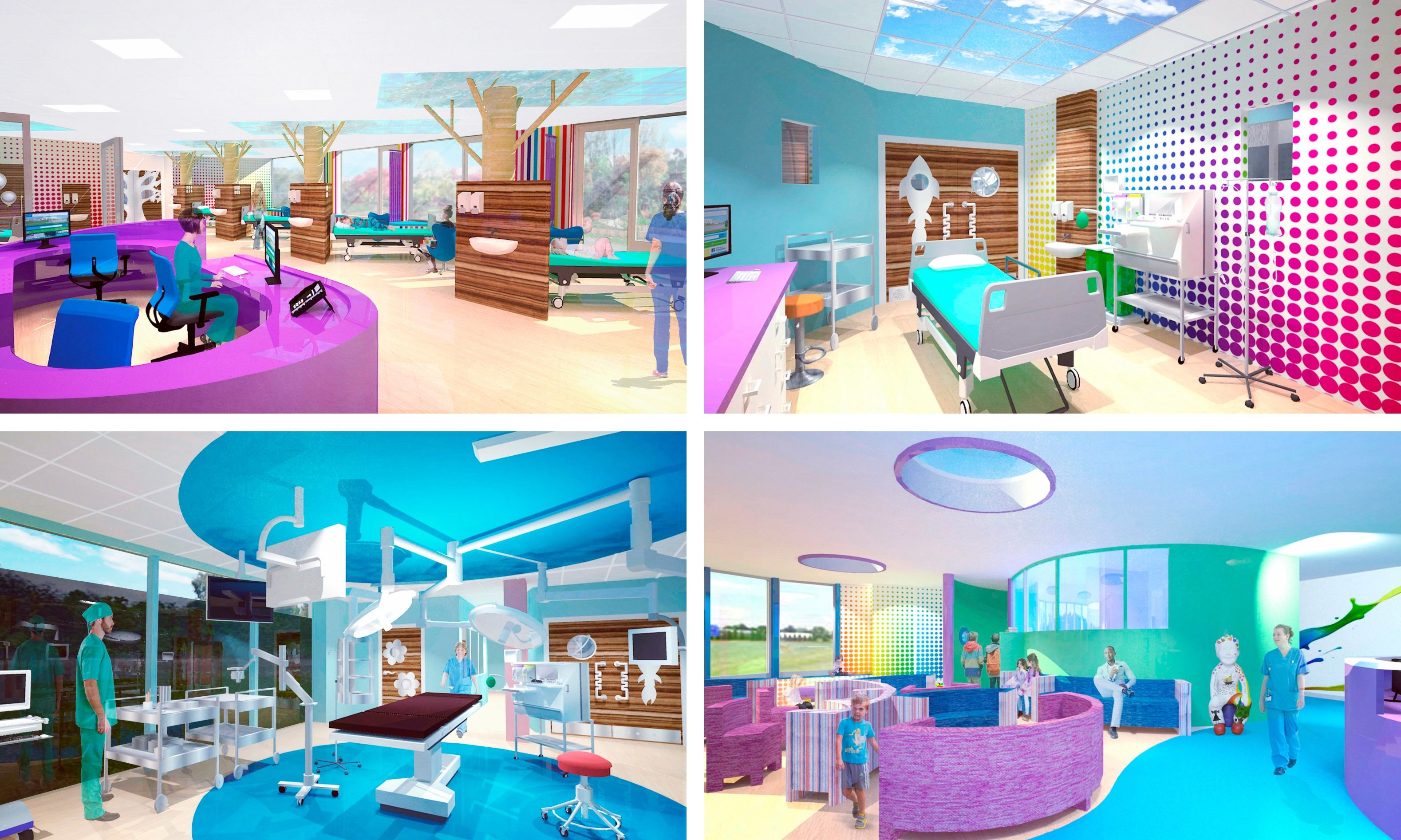 Artist's impressions of the twin operating theatre being built by NHS Tayside and the Archie Foundation.