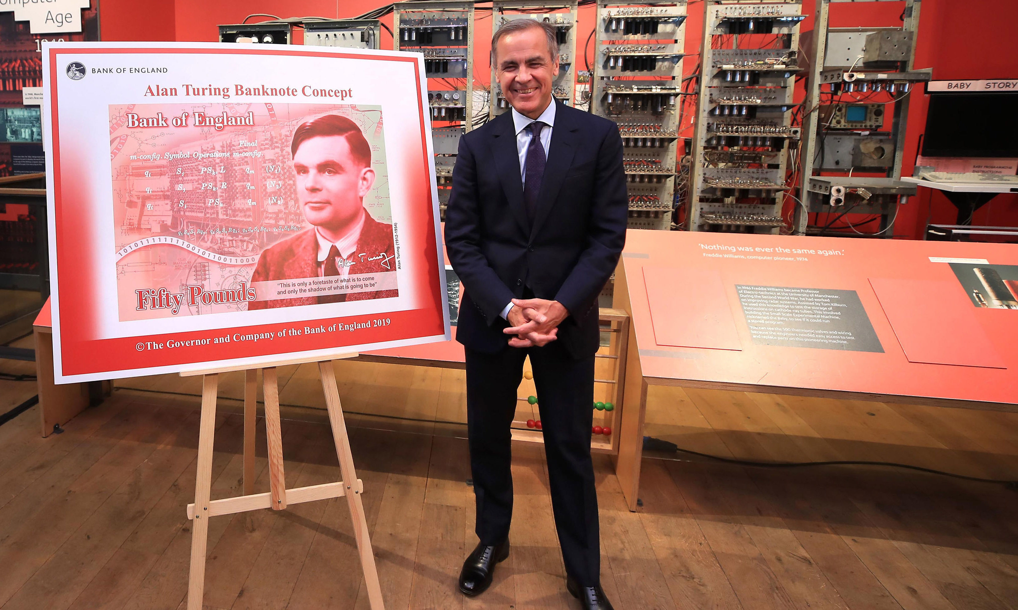 Governor of the Bank of England, Mark Carney, during the announcement that Second World War code-breaker Alan Turing has been selected to feature on the next £50 note,